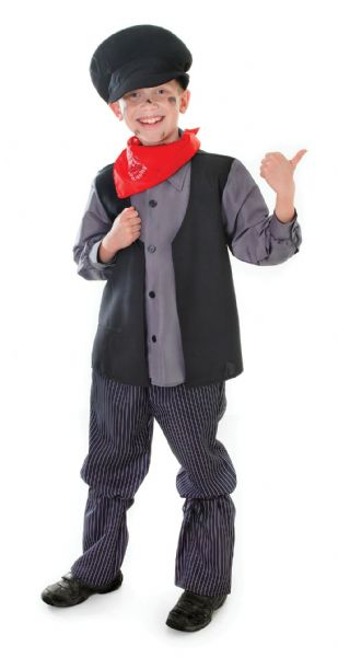 Boys Chimney Sweep Costume Victorian London Peasant Cockney Fancy Dress Outfit
